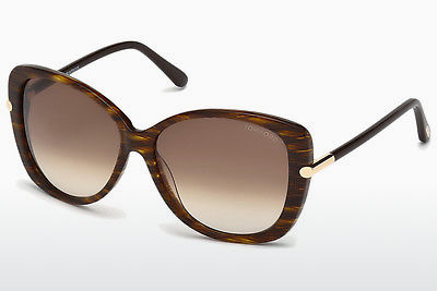Lunettes de soleil Tom Ford Linda (FT0324 50F) - Brunes, Dark