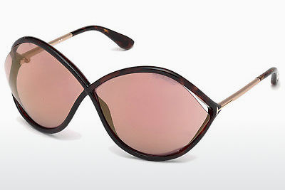 Lunettes de soleil Tom Ford Liora (FT0528 52Z) - Brunes, Dark, Havana