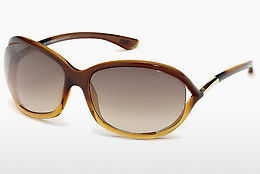 Lunettes de soleil Tom Ford Jennifer (FT0008 50F) - Brunes, Dark